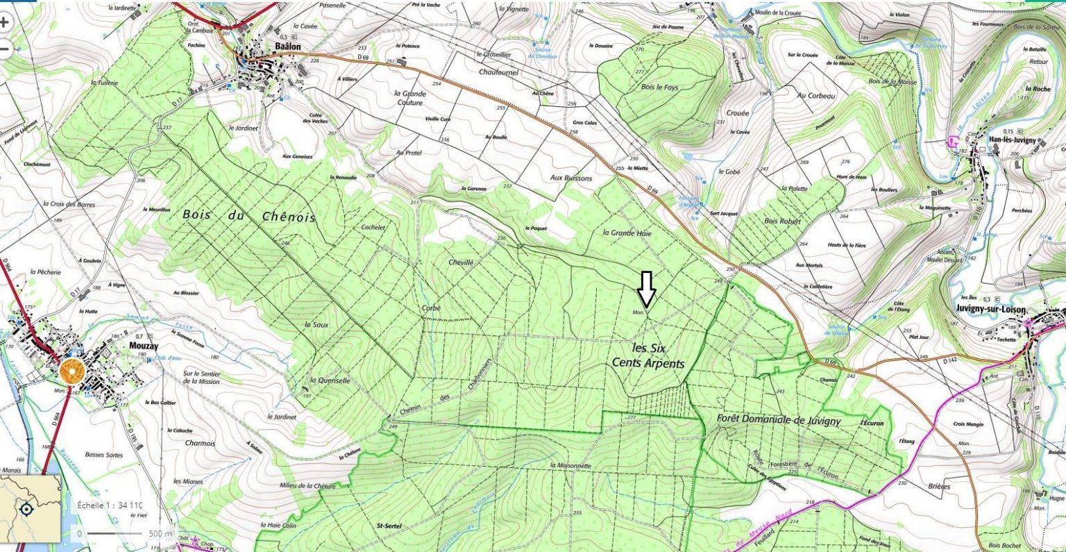 Localisation du monument des maquisards à Mouzay